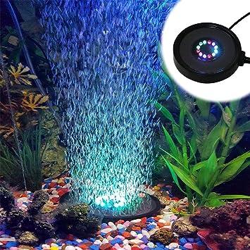 geekeep Generador de acuario Fish Tank cortina de aire Burbuja Burbuja Aire Piedra airear con 12 sumergible impermeable RGB que cambia de color LED luces ...