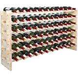 Smartxchoices 72 Bottle Stackable Modular Wine Rack Wine Storage Rack Solid Wood  Wine Holder Display Shelves, Wobble-Free (Six-Tier, 72 Bottle Capacity)