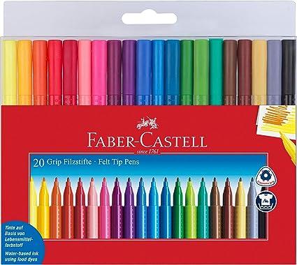 Faber-Castell - Estuche con 20 rotuladores grip de punta fina con forma triangular (155320): Amazon.es: Juguetes y juegos