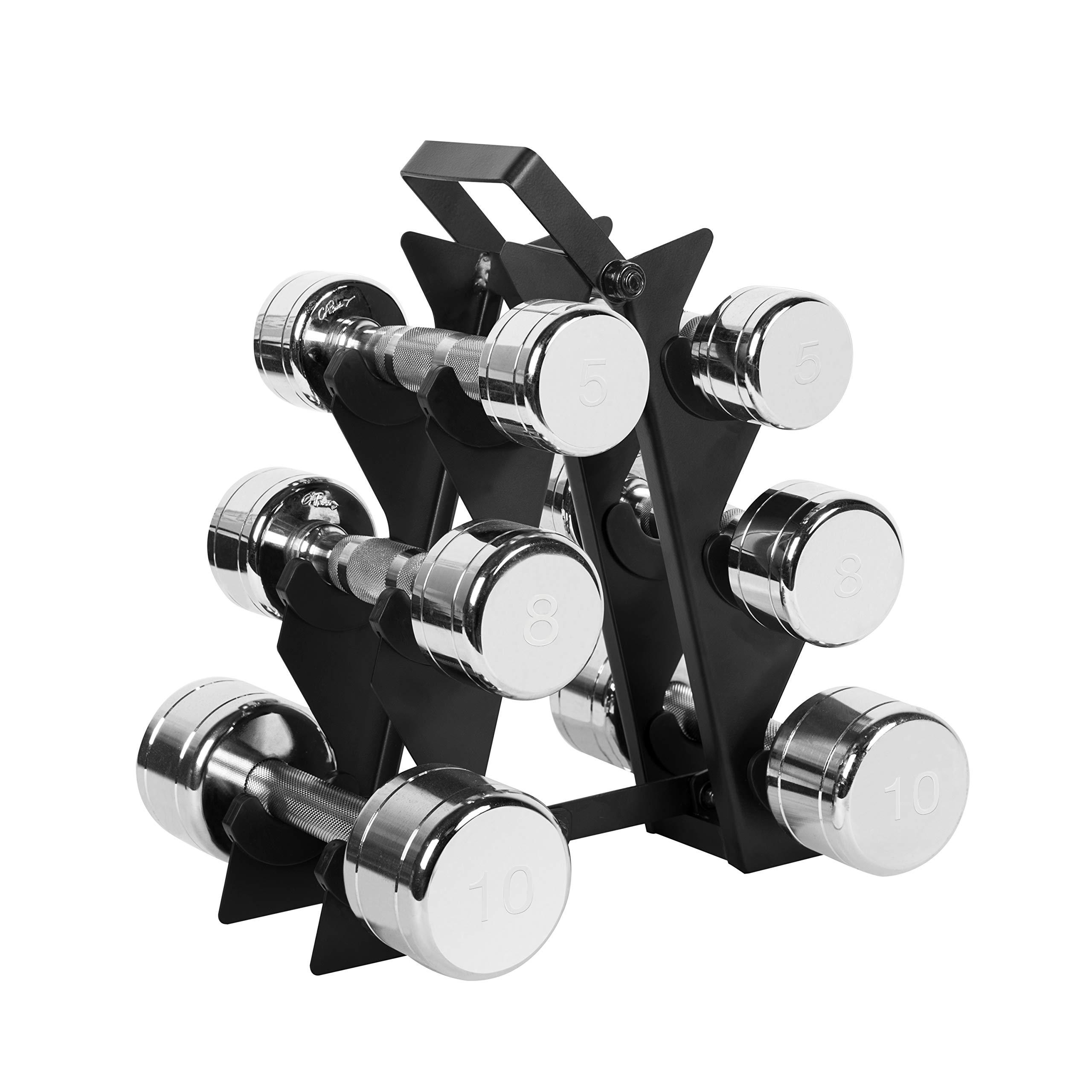 WF Athletic Supply Dumbbell Set with Storage Rack (46lb Chrome Dumbbell Set)