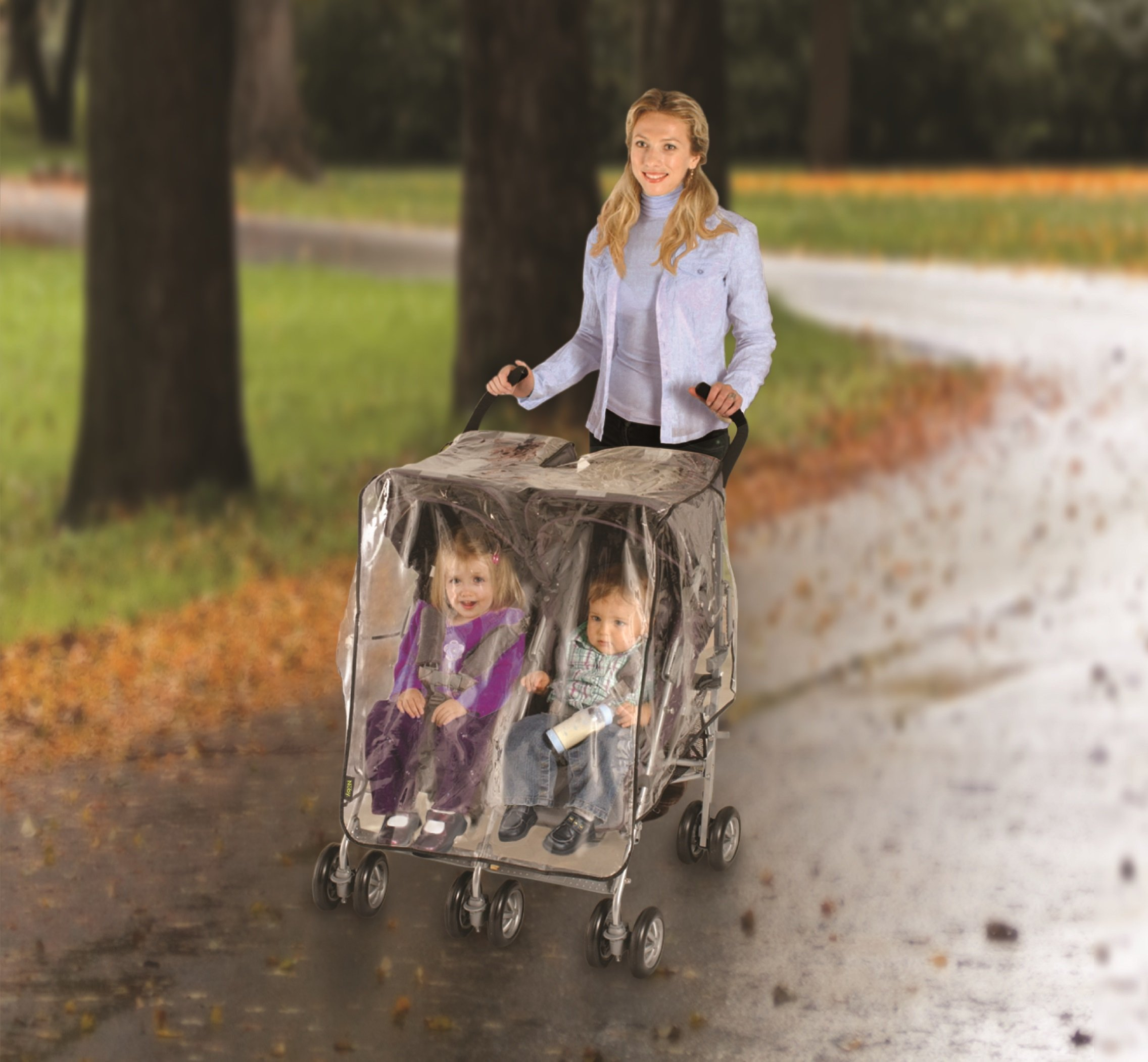 Nuby Universal Size Twin Stroller Rain Cover, Clear Vinyl Plastic by Nuby (Image #3)