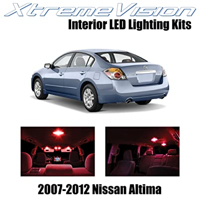 Xtremevision Interior LED for Nissan Altima Sedan 2007-2012 (10 Pieces) Red Interior LED Kit + Installation Tool Tool: Automotive