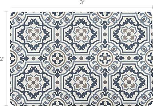 Vinyl Floor Mat, Durable, Soft and Easy to Clean, Ideal for Kitchen Floor, Mudroom or Pet Food Mat. Freestyle, Denim Tapestry Pattern 2 ft x 3 ft