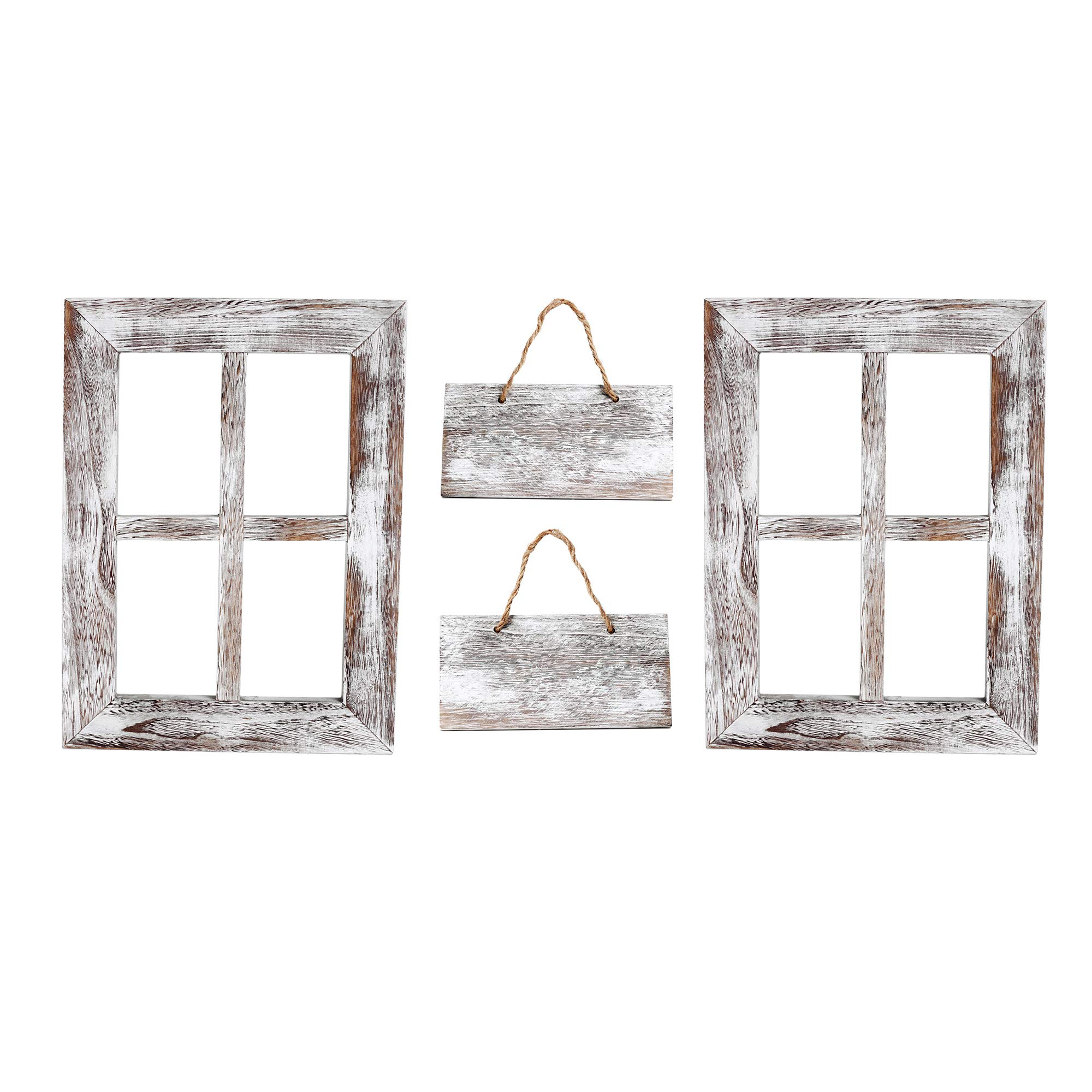 Kenley Rustic Window Frames - Wall Mount Wooden Frame Set with Signs - Farmhouse Wall Decor - Vintage Hand Crafted Wood Pane 11x15 Inches - Primitive Country Decorations by Kenley