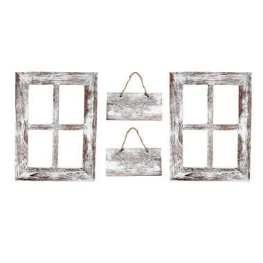 """Kenley Rustic Window Frames - Wall Mount Wooden Frame Set with Signs - Farmhouse Home Decor - Vintage Hand Crafted Wood Pane 11""""x15"""" - Primitive Country Decorations"""