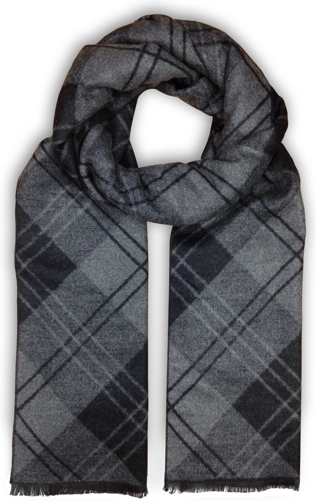 Bleu Nero Luxurious Winter Scarf for Men and Women – Large Selection of Unique Design Scarves – Super Soft Premium Cashmere Feel Black Grey Diagonal Plaid
