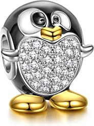 NINAQUEEN Women Bead Charms Animal Fever 925 Sterling Silver Penguin Gold Plated with 5A Cubic Zirconia, Christmas Gifts, Come with a Gift Packaging, Nickel-free, Passed SGS