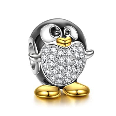 fae455a77 NINAQUEEN 925 Sterling Silver Penguin Animal Bead Charm for European  Pandöra Charms Bracelets Birthday Anniversary for