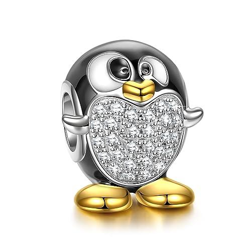 Pandora Charms Weihnachten.Ninaqueen Silber Charms Pinguin Gluckliche Fusse Mit Schmuckkasten Frohliche Weihnachten