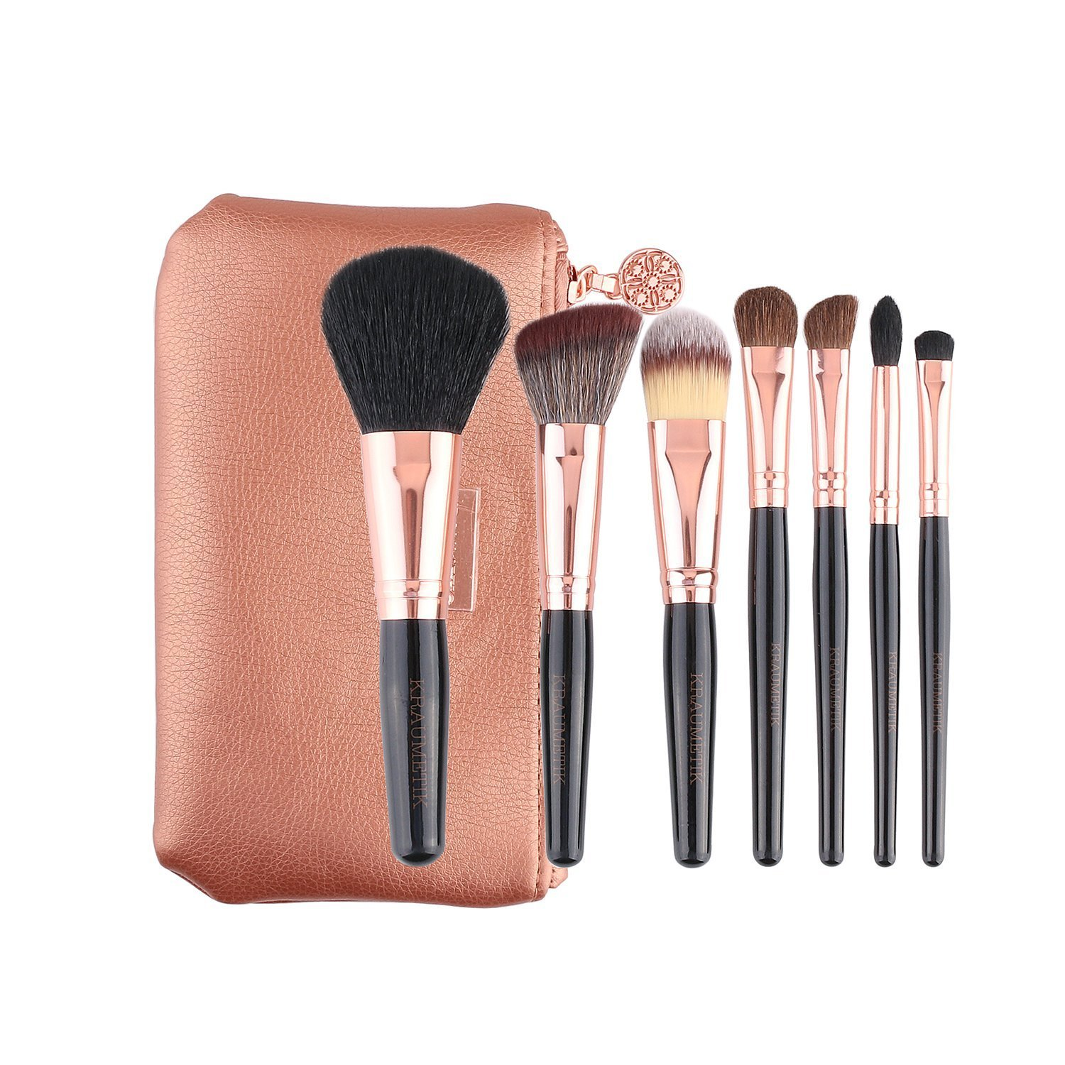 7 pcs Makeup Brush Set Professional Premium Synthetic Kabuki Foundation Blending Blush Concealer Eye Face Liquid Powder Cream Cosmetics Brush Tool Brushes Kit with Rose Gold Pouch +Slim Liquid Eyeli joynfs