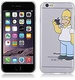 Cover Simpson Homer Mangia Mela Per iPhone 6 6S 4.7'' Case TPU Gomma Morbida Trasparente Silicone Ultra Sottile Slim 0,33 MM Disegno Personalizzato Cartoni Animati kaser® (Mangia Mela)