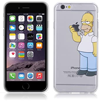 case for iphone 6 6s 4 7\u0027\u0027 simpson homer eating apple covercase for iphone 6 6s 4 7\u0027\u0027 simpson homer eating apple cover transparent tpu soft silicon case slim with custom design kaser amazon co uk electronics