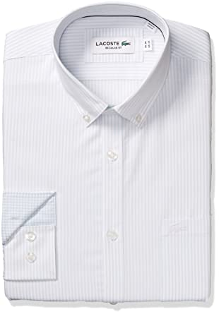 cad7153c Lacoste Men's Long Sleeve with Pocket Poplin Mini Stripe Regular Fit ...