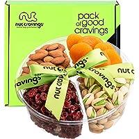 Holiday Dried Fruit & Nut Gift Basket, Green Ribbon (4 Mix Tray) - Thanksgiving, Christmas, Xmas Food Arrangement…