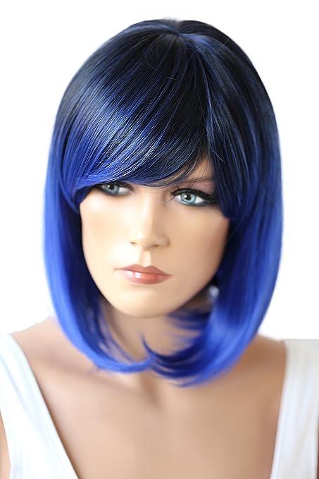 PRETTYSHOP Peluca de pelo corto peluca de Bob calor fibras sintéticas resistentes mezcla azul # 1T3500D