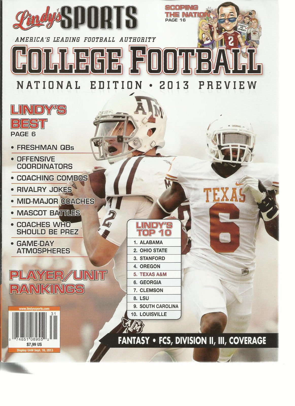 LINDY'S SPORTS COLLEGE FOOTBALL 2013 (NATIONAL EDITION * 2013 PREVIEW)
