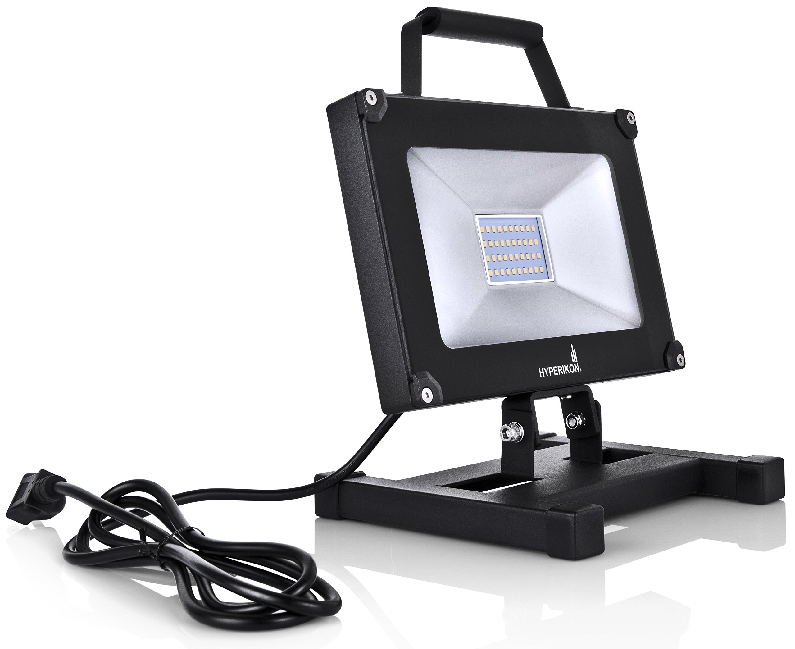 Hyperikon 30W LED Work Light Portable Fixture 5000K, Adjustable light with Plug and Stand for outdoor, garage, construction, UL, IP65 Waterproof, 100-277V