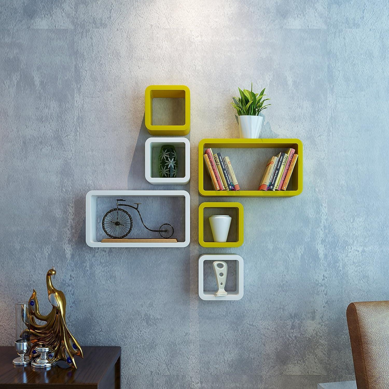 DecorNation Wall Shelf Set of Six Cube Rectangle Designer