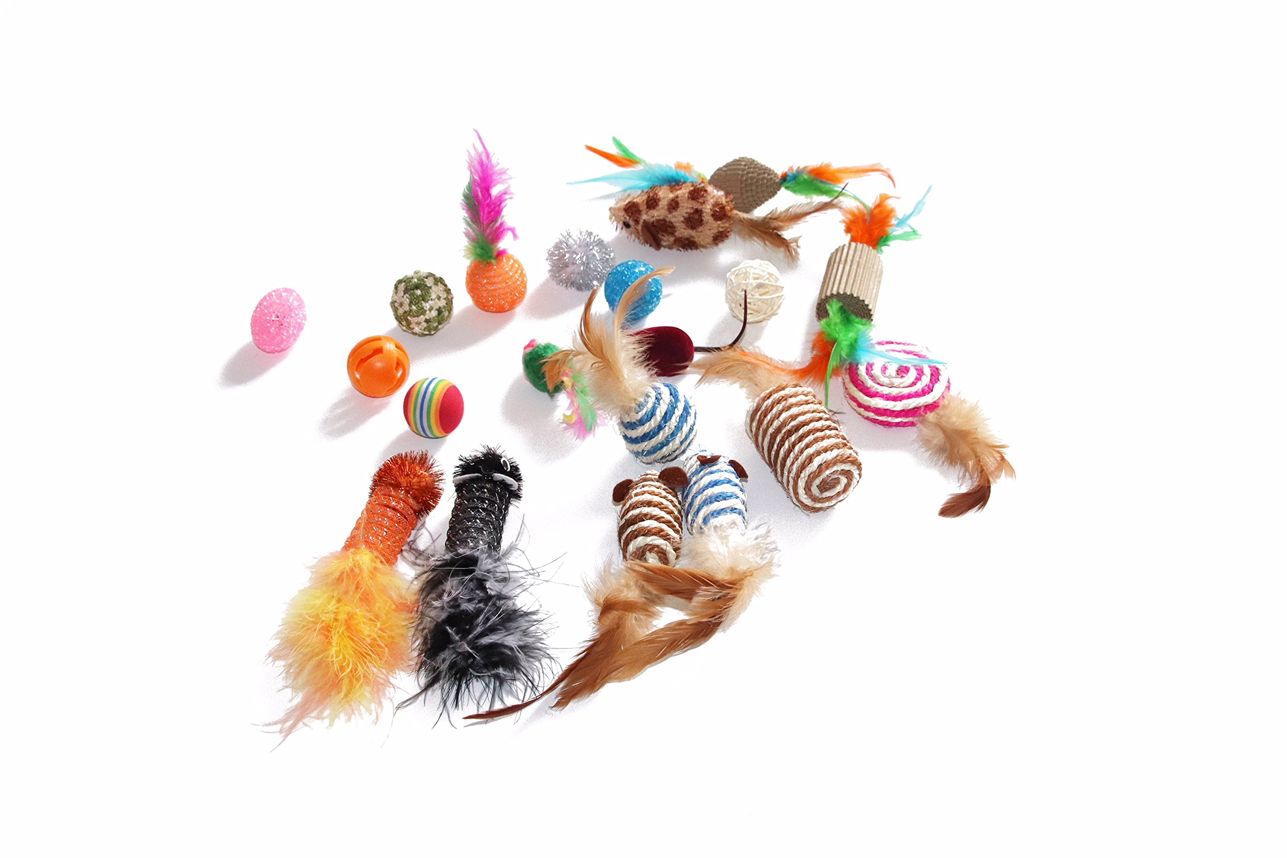 Neos pet Fashion Cat toys 20 pieces Kitten toys Assorted corrugated paper toys,Feather ball toy,Spring mouse,Interactive cat scratching sisal mouse,Crinkle balls for Kitty cats