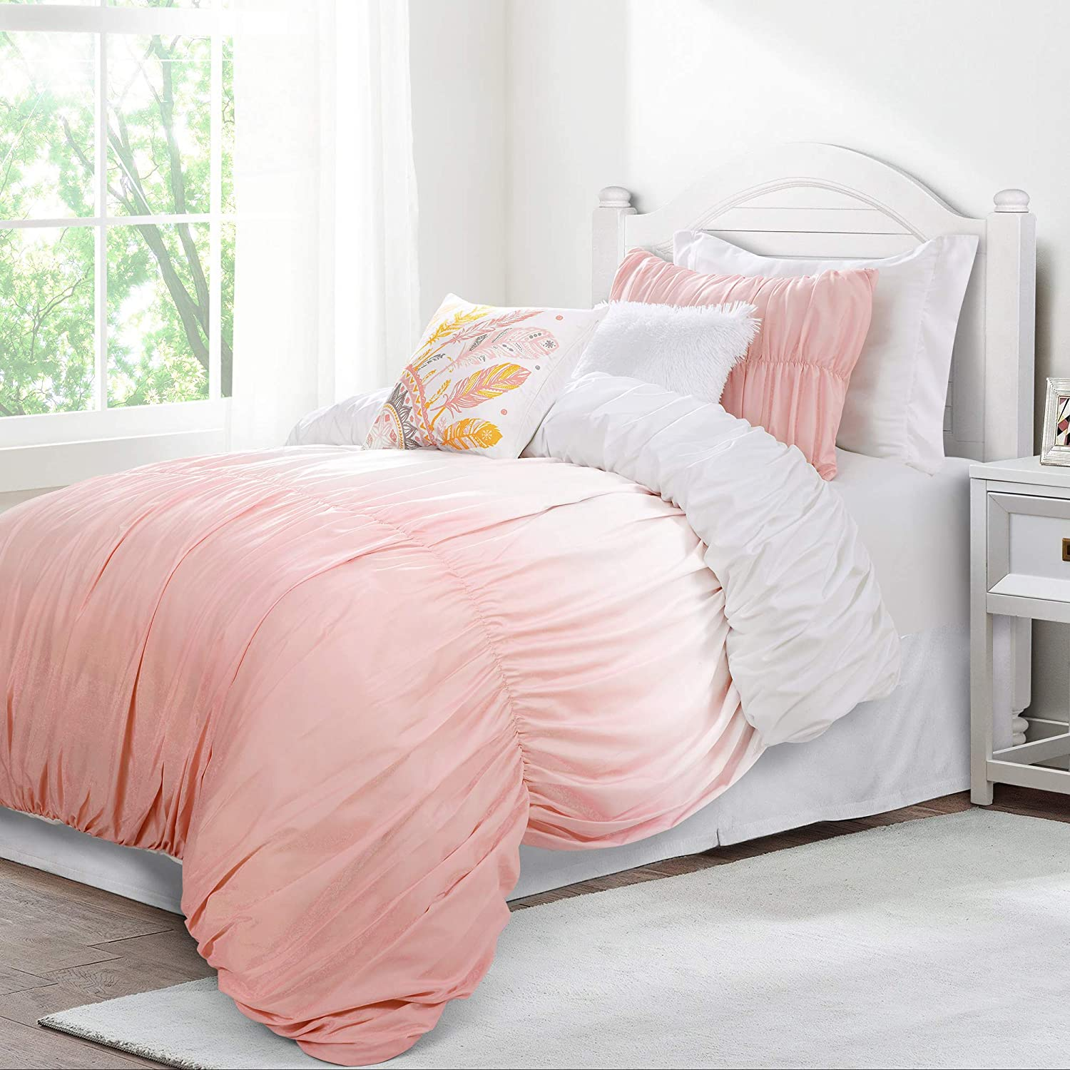 Lush Decor Umbre Fiesta 4 Piece Comforter Set, Twin-XL, Blush