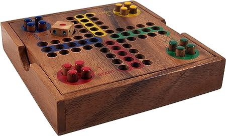 Guru-Shop Juego de Mesa, Juego de Salón de Madera - Ludo, Brown, 3x14x14 cm, Juegos de Mesa Juegos de Habilidad: Amazon.es: Hogar