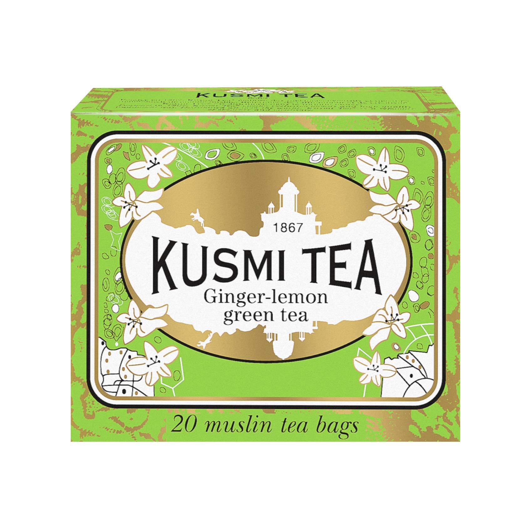 Kusmi Tea - Ginger Lemon Green Tea - Refreshing Green Tea Blend flavored with Lemon Scent and Ginger - All Natural, Premium Loose Leaf Green Tea in 20 Eco-Friendly Muslin Tea Bags