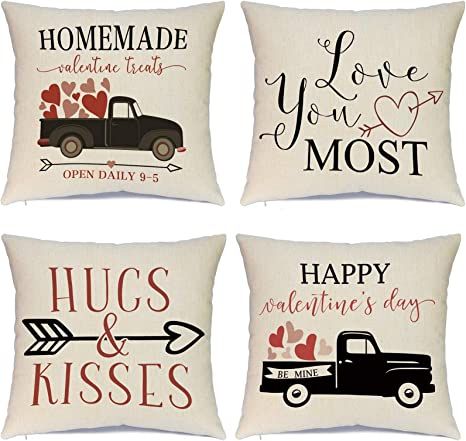 Amazon Com Hlonon Valentines Day Pillow Covers 18 X 18 Inches Set Of 4 Red Heart Truck Decor And Love Arrow Decor Throw Pillow Covers For Sofa Couch Cushion Cover 18x18 Inch