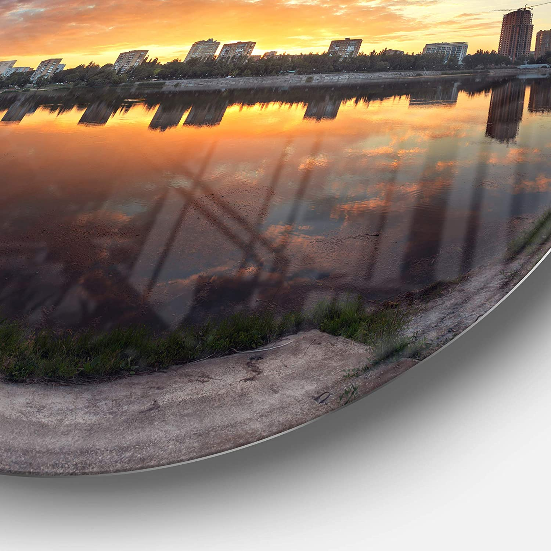 Landscape Photo Round Metal Wall Art Designart Long Summer Sunset in Yellow Disc of 23 23 H x 23 W x 1 D 1P