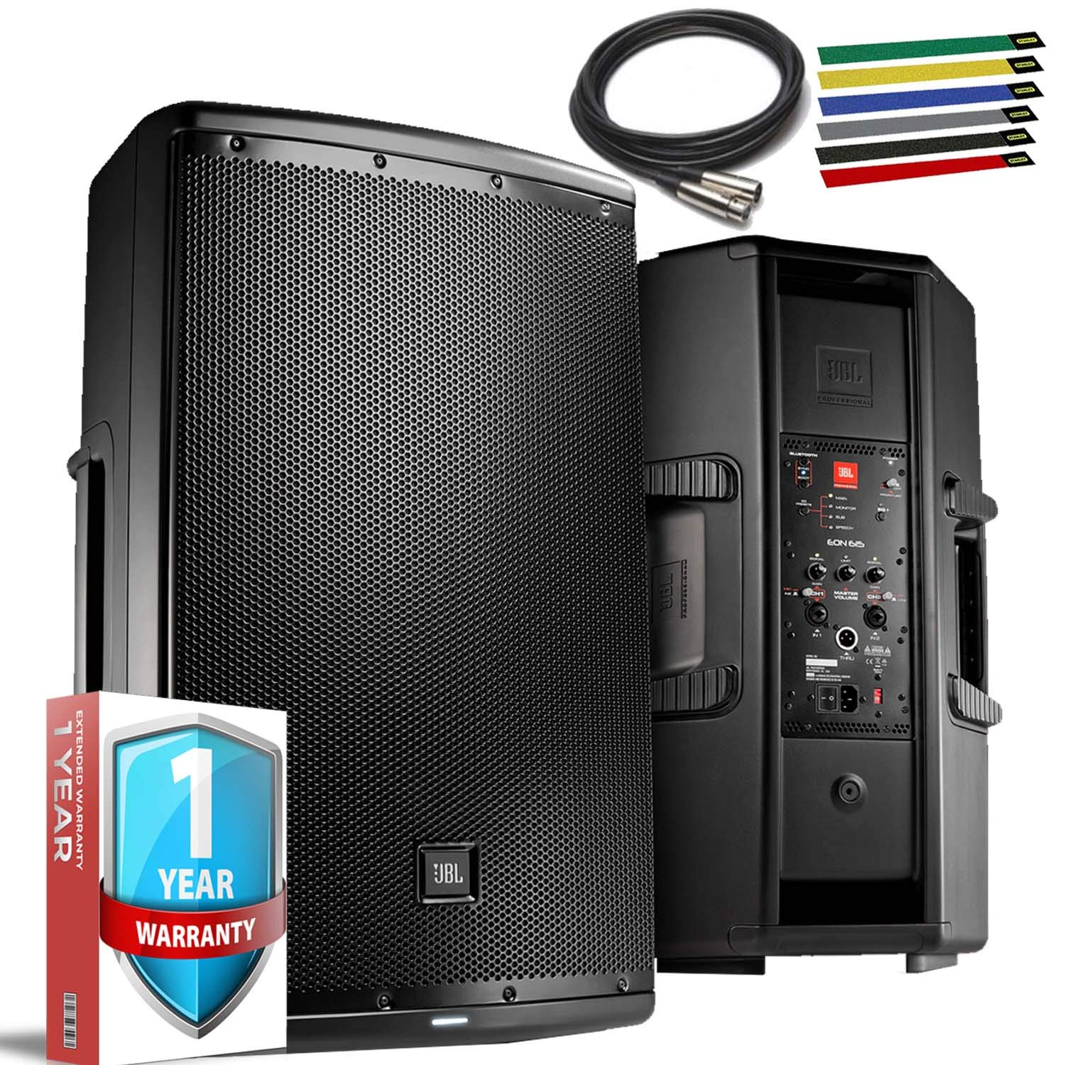 JBL Professional EON615 Portable 15'' 2-Way Multipurpose Self-Powered Sound Reinforcement Speaker with 10ft XLR, Cable Ties and 1-Year Warranty by JBL