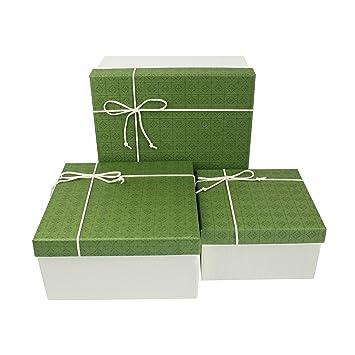 Emartbuy Conjunto de 3 Rígido Lujo Forma Cuadrada Presentación de Caja de Regalo, Caja Blanca