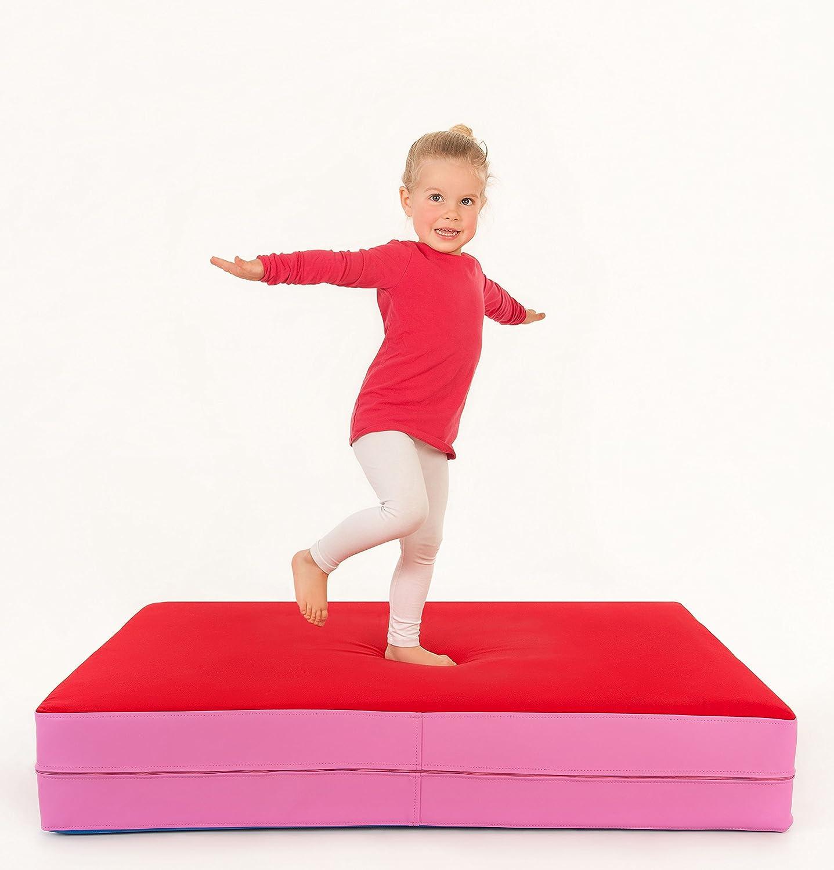 Spiel Matratze zum Toben Turn Matte für Kinder Hüpfen FLIXI Hüpfmatratze Balancieren Dunkelblau//Blau ab 1 Jahre