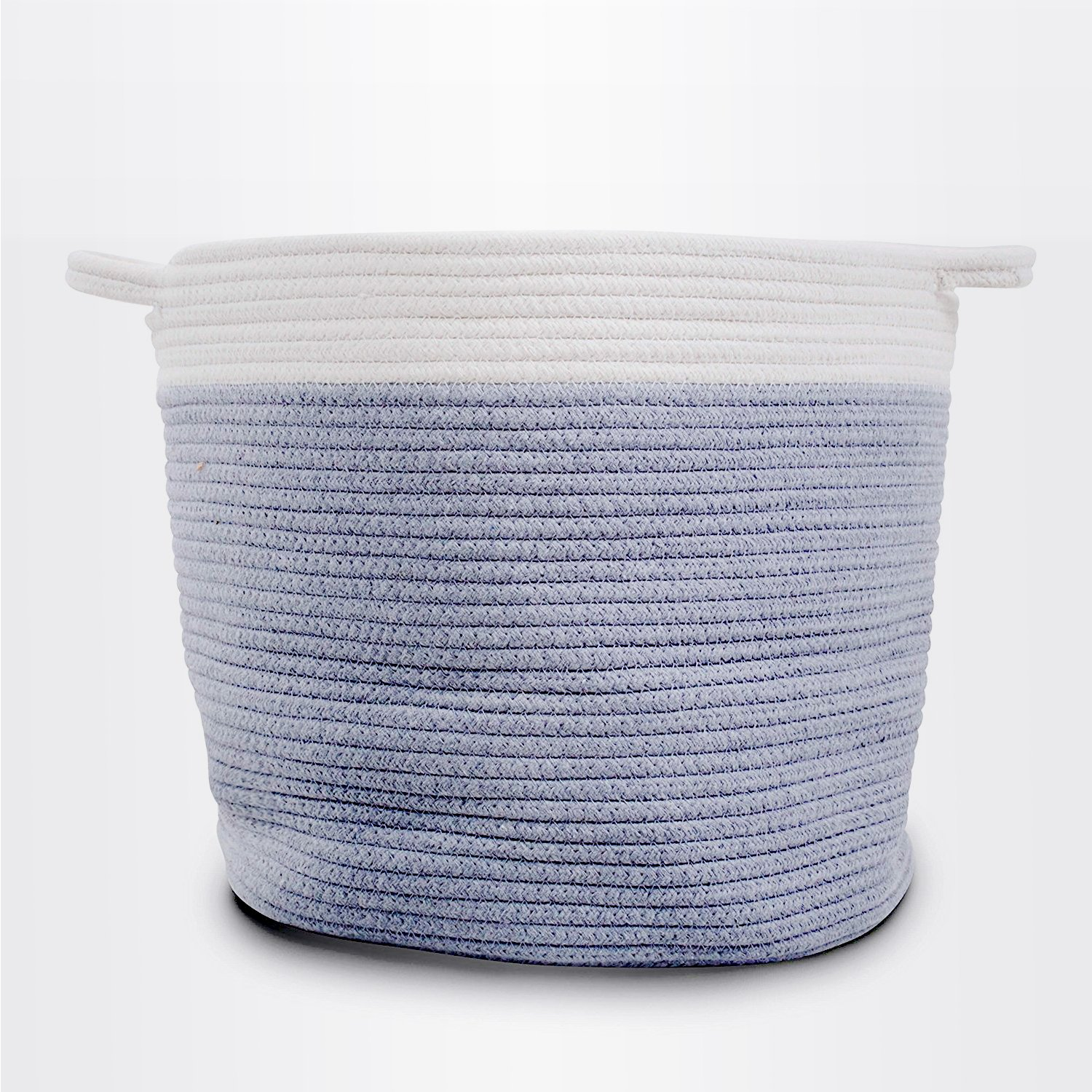 Extra Large Storage Cotton Rope Basket with Handles - for Laundry, Bathrooms, Kids and Baby Storage, Toys, Home Decor, Organization 15'' x 14'' I Light Grey and White Color with Clean Stitching