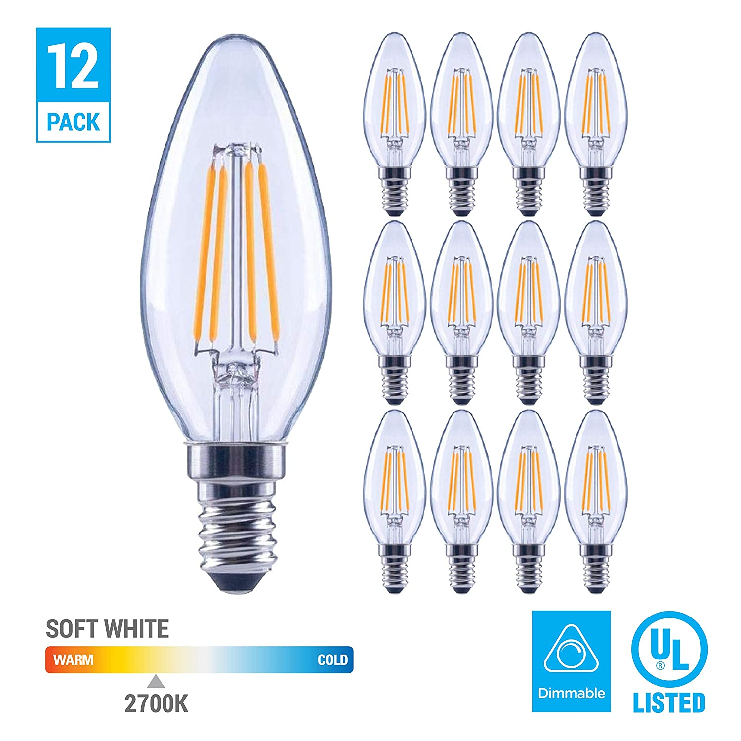 (12 Pack) 60-Watt Equivalent LED E12 Candelabra Base B11 Dimmable Clear Filament Vintage Style Light Bulb 2700K Warm White Decorative 60W LED Chandelier Ceiling Fan Bulbs. 81hbLolnYLL