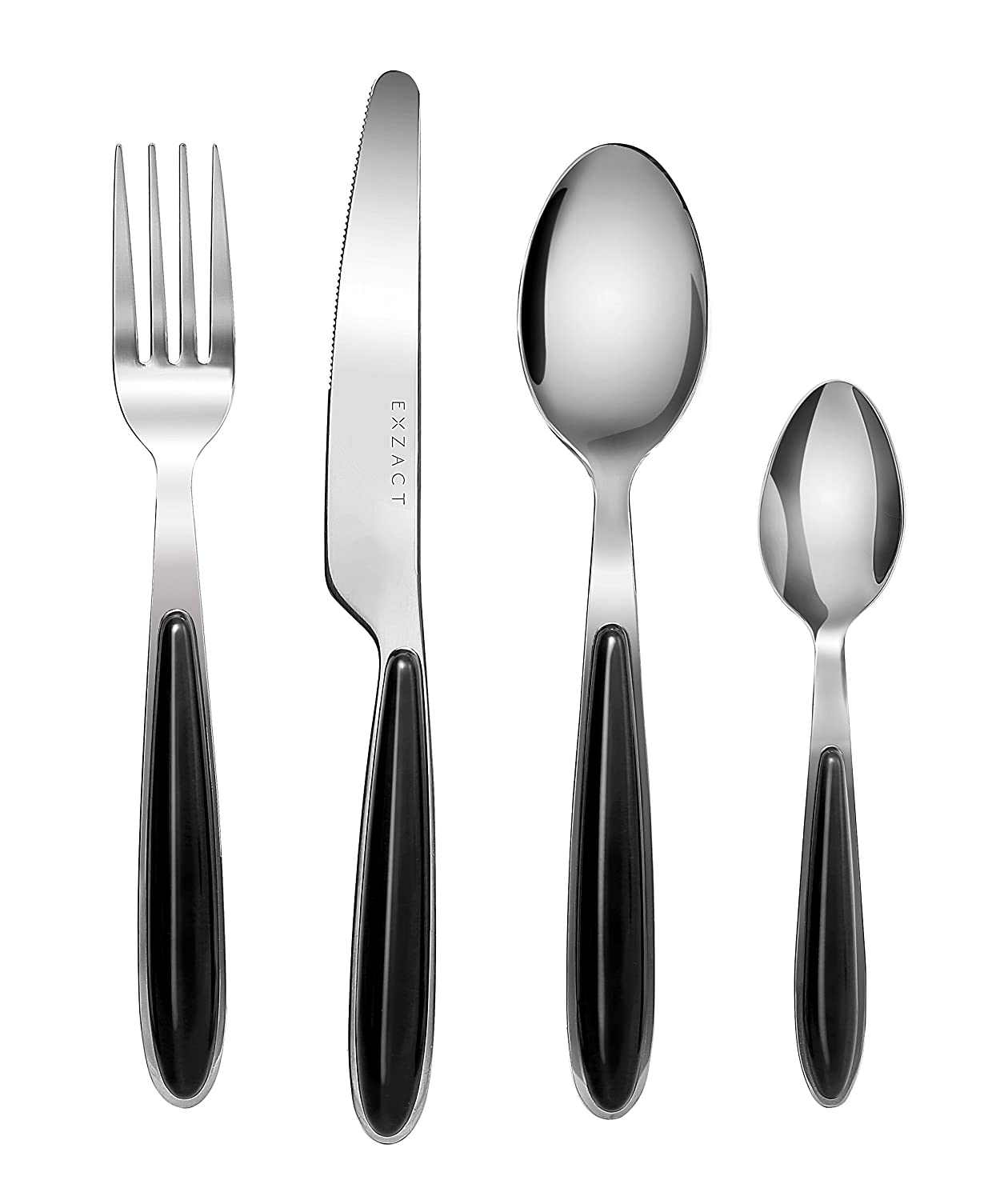 EXZACT EX07-16 PCS Cutlery Set - stainless steel with color handles - 4 Forks, 4 Dinner Knives, 4 Dinner Spoons, 4 Teaspoons (Black x 16) Exerz Limited