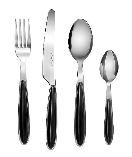 Exzact cubertería Acero Inoxidable con Asas de Color - 4 x Cena tenedors, 4 x Cuchillos, 4 x cucharas Cena, 4 x cucharaditas (Negro x 16) (EX07-16 ...