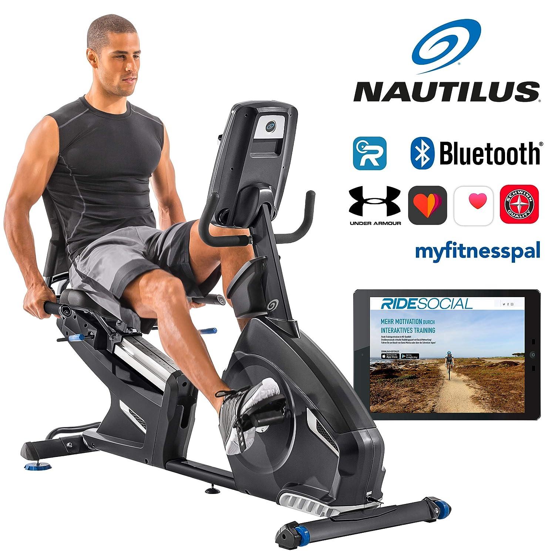 Nautilus Liegeergometer R628 - 14 kg Schwungradsystem - Nautilus Connect - Soundsystem und integrierter Ventilator - RunSocial kompatibel - verstellbarer Nautilus Gel Sitz NAW77|#Nautilus 100549