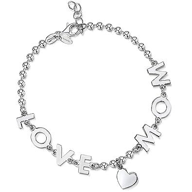 Amberta® Pulsera en Plata de Ley 925 - Brazalete de Bola 3 mm para Mujer con Frase Mamá Te Amo/Love Mom y Símbolo de Corazón - Longitud Ajustable de 18 a 20 cm