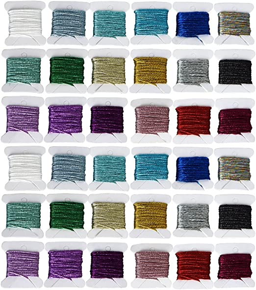 kocean - Juego de 36 hilos de bordado metálicos de color arcoíris de alta calidad, hilo de bordar, decorativo, para costuras o agujas de mano: Amazon.es: Hogar