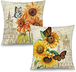Binfemcy Sunflower Butterfly Throw Pillow Covers 18x18 Inch, Vintage Decorative Oil Painting Farmhouse Square Pillowcase, Soft and Comfortable Linen Cushion Cover for Sofa Couch Porch Indoor Outdoor