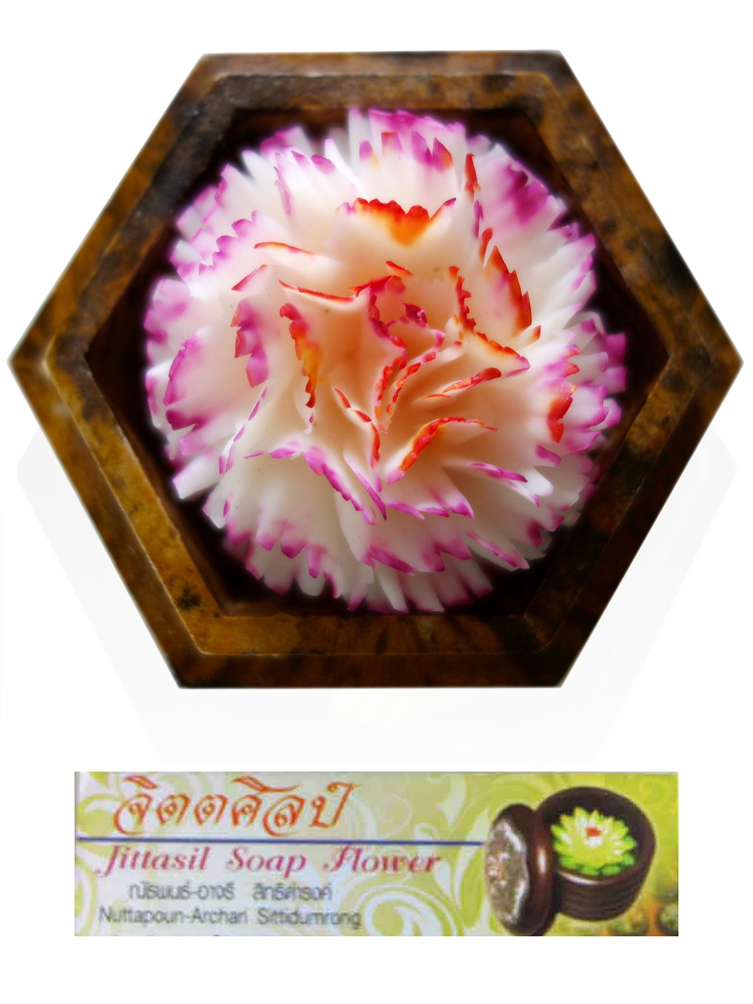 Jittasil Thai Hand-Carved Soap Flower, 4 Inch Scented Soap Carving Gift-Set, White Carnation In Decorative Hexagonal Pine Wood Case