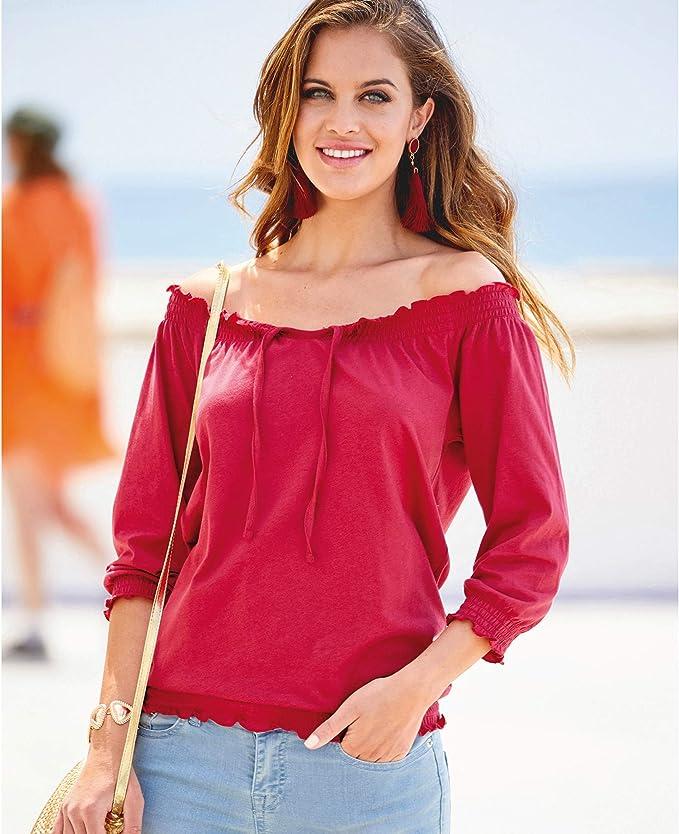 112158 Damenshirt mit ¾-Ärmeln aus Baumwolle und elastischen Bünden und Saum