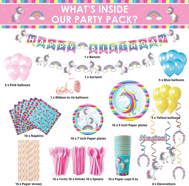 Details about  /Party Set Unicorn 69 pieces Napkins Plates Cups Balloons Garlands Girls show original title