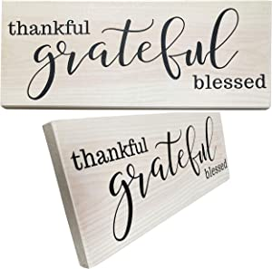 Let the Fun Begin Grateful Thankful Wood Sign Wall Art for Friends, Handcrafted Wooden Signs for Rustic Home Decor, Housewarming Gift (Grateful No Year White)
