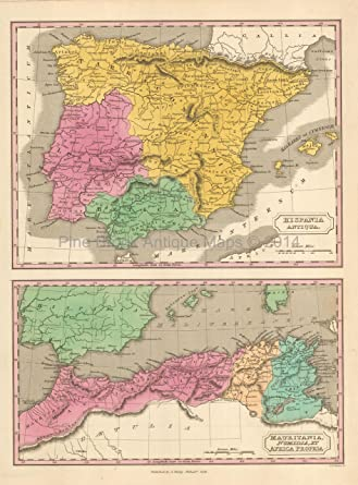 Ancient Spain Antique Map Finley 1831 Original Home Decor