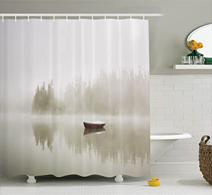 Landscape Shower Curtain By Ambesonne Boat On The Lake With Silhouettes Of Trees On The