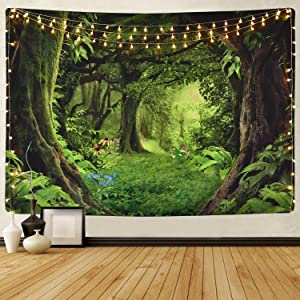 Sevenstars Green Forest Tapestry Virgin Forest and Grass Tapestry Nature Tree Tapestry Wall Hanging for Room