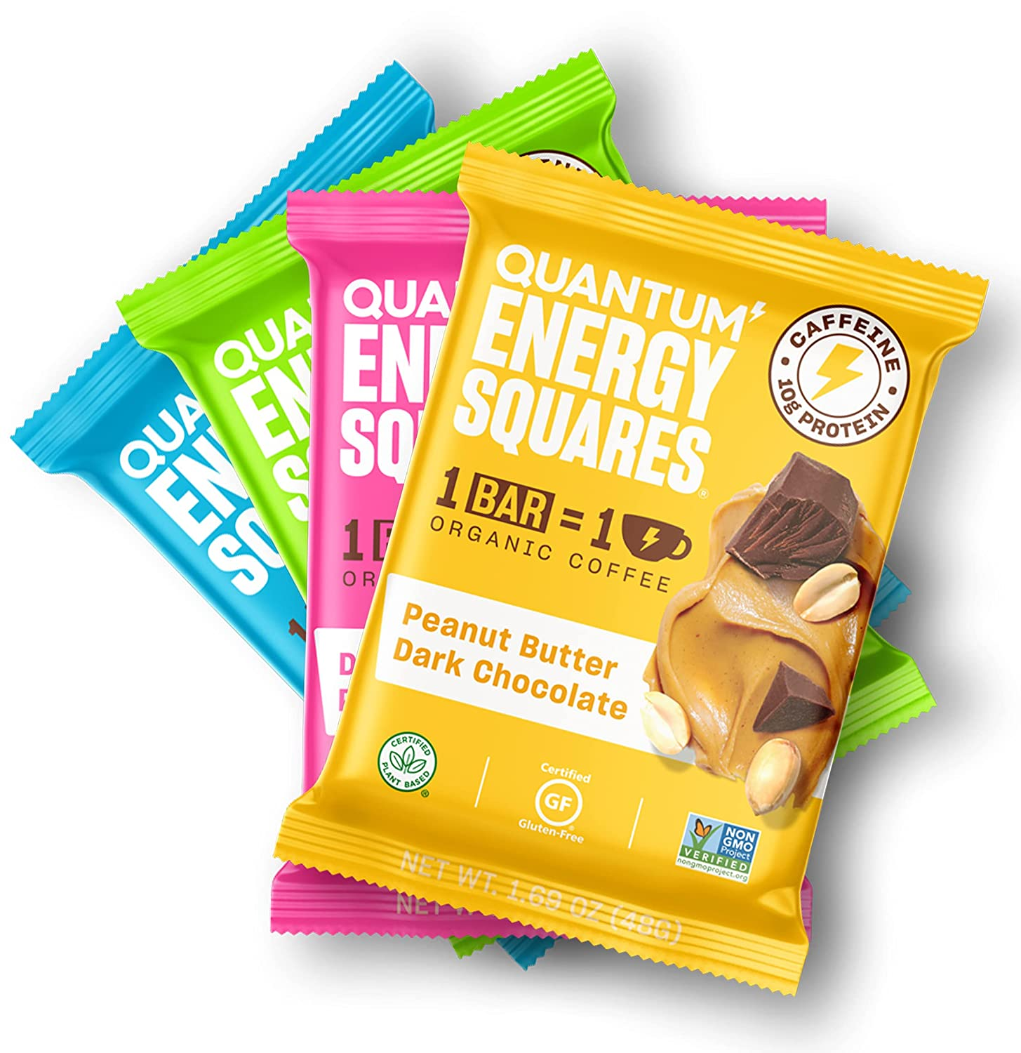 QUANTUM Energy Squares | Caffeinated Vegan Energy Bars | 1 Bar = 1 Cup Organic Coffee Plus Protein, MCTs & Real Food | Gluten Free, Dairy Free, Soy Free, Non-GMO | (Trial 4 Pack)
