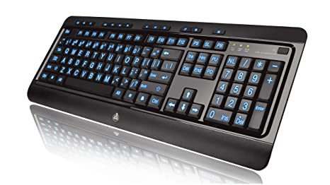 2e7f4d46b8b Amazon.com: Azio Large Print Tri-Color Backlit Wired Keyboard ...