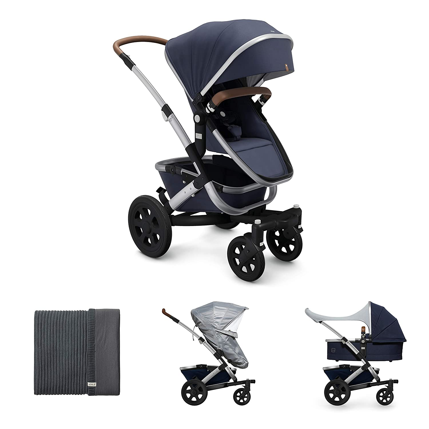 Joolz Geo2 Stroller in Classic Blue with 100/% Organic Blanket Comfort Cover and Rain Cover