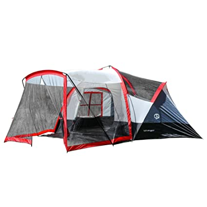 Tahoe Gear Zion 8 Person Family Tent With Screen Porch Red